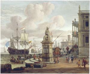 Zuidelijk havengezicht met een standbeeld van de Overvloed
