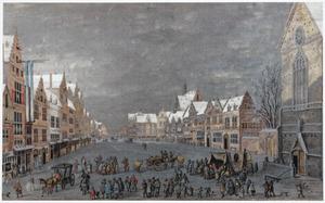 Winters stadsgezicht met figuren op een plein