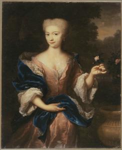 Portret van een vrouw met een roos