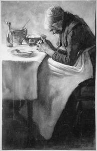 Biddende vrouw aan een gedekte tafel