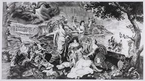 Urgande voert Amadis weg in haar schip