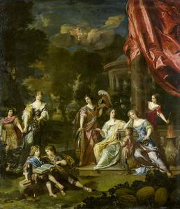 Groepsportret van de kinderen van Diederik van Leyden (1628-1682) en Alida Paets (1635-1673)