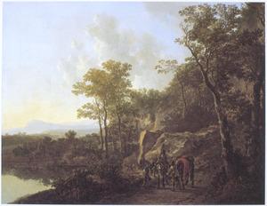 Zuidelijk landschap met halthoudende ruiters