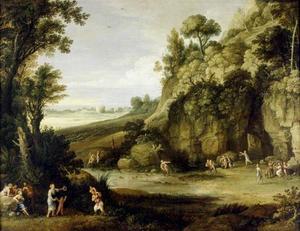Mythologisch landschap met nimfen en satyrs