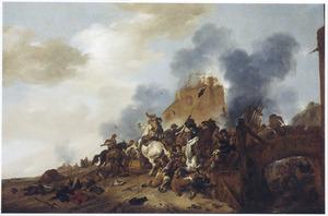 Ruitergevecht voor een vervallen toren bij een brug