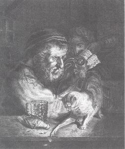 Oude man met kat en dode vogel