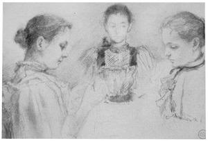 Portret van drie jonge vrouwen