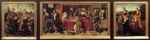 De HH. Joris en Nicasius met Georg en Nicasius Hackeney (binnenzijde linkerluik),  het sterfbed van Maria (middenpaneel), de HH. Catharina en Goedele met Christina Hackeney (née Hardenrath) en Sibilla Hackeney (née van Merle) (binnenzijde rechterluik); H. Anna met Maria en Kind en de H. Christoffel (buitenzijde linkerluik), HH. Sebastiaan en Rochus (buitenzijde rechterluik)
