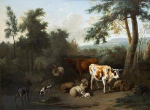 Koeien, geiten en schapen in een boslandschap