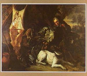 Rokende man bij een hondenkar met groente, haas en gevogelte; links een geslacht varken