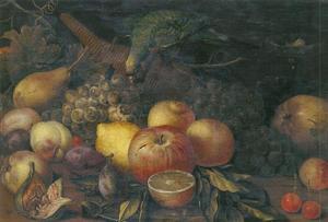 Vruchtenstilleven met een ara