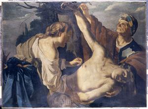 De H. Irene verzorgt met haar dienster de wonden van de H. Sebastiaan