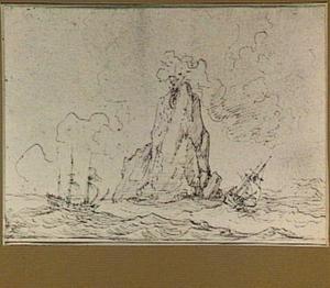 Zeilschepen bij een rots