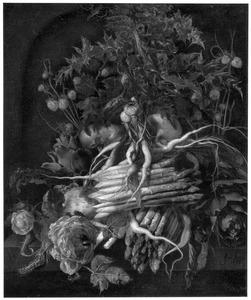 Stilleven van groente en een roos op een stenen plint