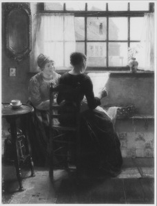 Hollands interieur met vrouwen die de krant lezen