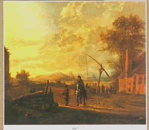 Landschap met ruiter in gesprek met een wandelaar; op de achtergrond een waterput bij een boerderij