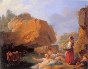 Badende en rustende herderinnen bij een poel met rotsen