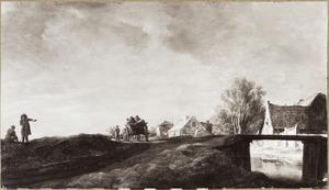 Landschap met boerenkar op een weg langs boerderijen