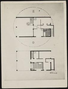 Plattegronden begane grond en verdieping atelierwoning Theo van Doesburg in Meudon