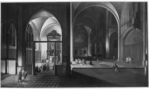 Kerkinterieur bij kaarslicht met een dienst in een zijkapel
