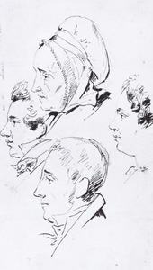 Portret van Cornelis Kruseman (1797-1857) met drie andere koppen