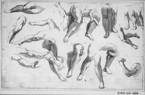 Studies naar benen in klassiek beeldhouwwerk, waaronder de Laocoöngroep