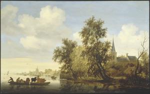 Rivierlandschap met veerpont, een kerk op de rechteroever