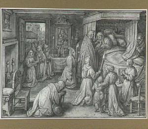 De uitreiking van de communie aan een zieke