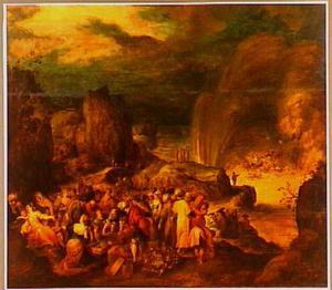 De Israëliten bereiken met de beenderen van Jozef de andere oever van de Rode Zee; Mozes heft zijn armen, waarna de golven farao en zijn leger verzwelgen (Exodus 13:17 tot 14:31)