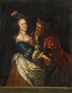 Oude man betast een jonge vrouw; ongelijke liefde