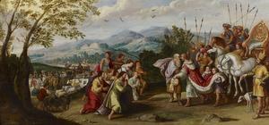 Jozef ontvangt Jacob in Egypte nabij Gosen  (Genesis 46:28)
