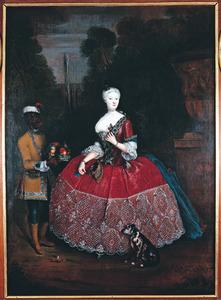 Portret van Margaretha Elisabeth Sofia van Stepraedt (?-1726) met een bediende