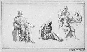 Zittende man in toga en andere figuren