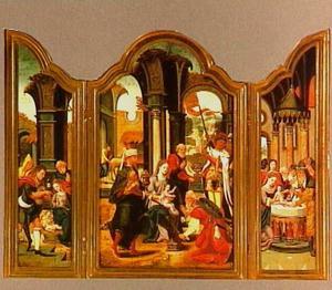 De aanbidding van de herders (links); De aanbidding van de Wijzen (midden); De besnijdenis (rechts)