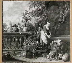 Hoveniers en een meid met groente en fruit bij een fontein in een tuin