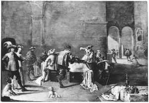 Interieur van een wachtlokaal met soldaten de buit inspecteren