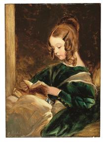 Studie van Rachel (Lady Rachel Russell) een boek lezend in groene jurk