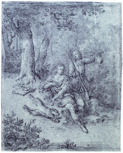 Rustende jagers in landschap
