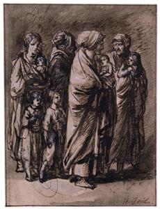 Vier staande vrouwen met baby's in hun armen en twee staande kinderen