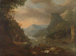 Riviergezicht met aanlegplaats in een bergachtig landschap