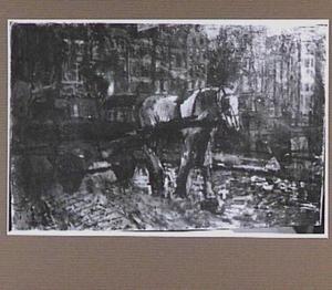 Sleperswagen met wit paard op het Damrak