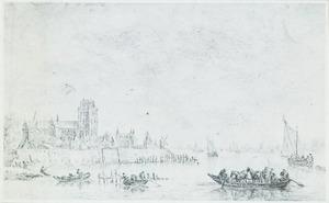 Gezicht op Dordrecht gezien van de Kalkhaven, in spiegelbeeld