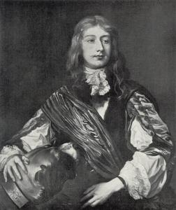 Portret van Sir William Killigrew of Kempton Park (1606-1695), met zijn hond