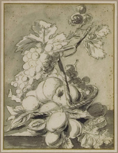 Vruchtenstilleven in een mandje op een plint