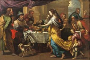 Salomé brengt het hoofd van Johannes de Doper naar Herodes