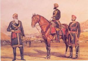 Officieren en een sowar (inheemse cavallerist) van het 4e Punjab cavalerieregiment