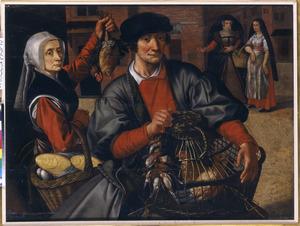 Marktverkopers met gevogelte