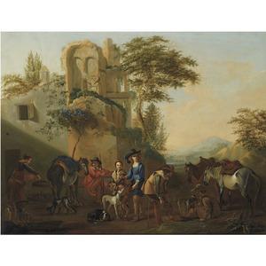 Rustende ruiters en jagers bij een ruïne