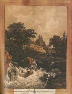 Een rotsachtig landschap met een waterval