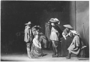 Wachtlokaal met soldaten en een smekende vrouw